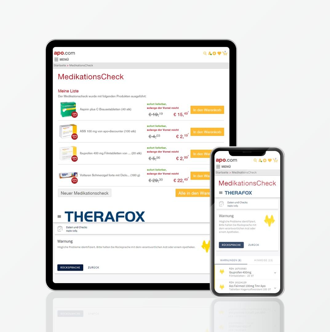 Informieren Sie sich über Wechselwirkungen mit dem THERAFOX Medikationscheck!