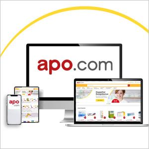Verschiedene Mobilgeräte mit der apo.com App
