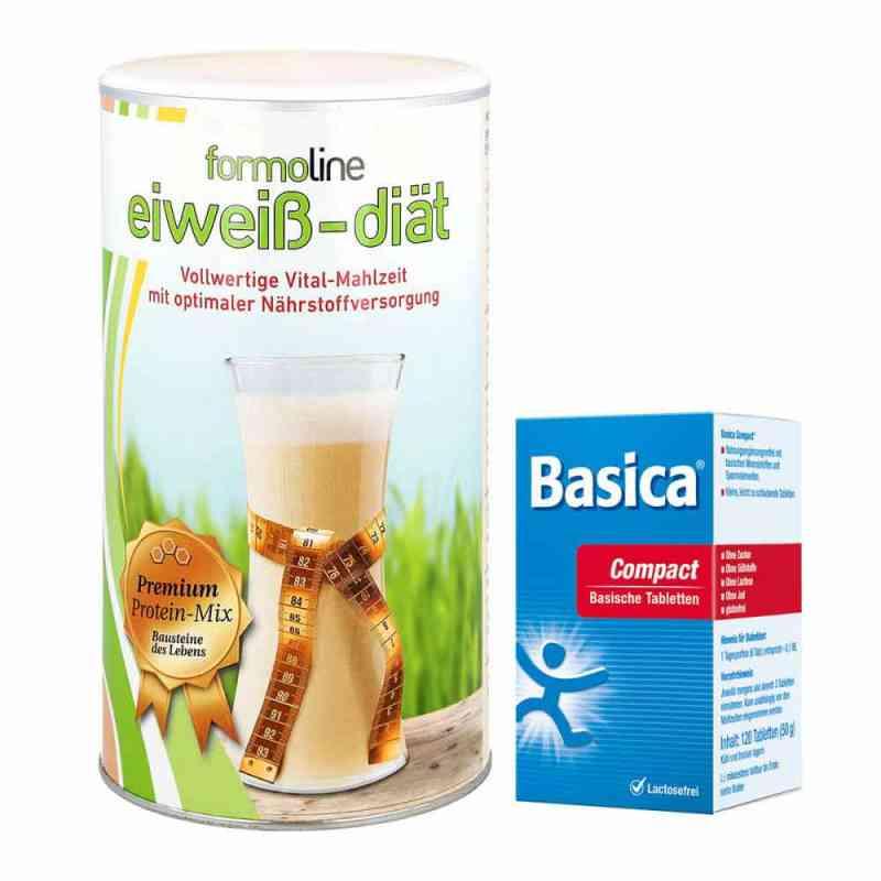 Paket Formoline Eiweiss-Diät Pulver (480 g) + Basica compact Tab  bei apotheke-online.de bestellen