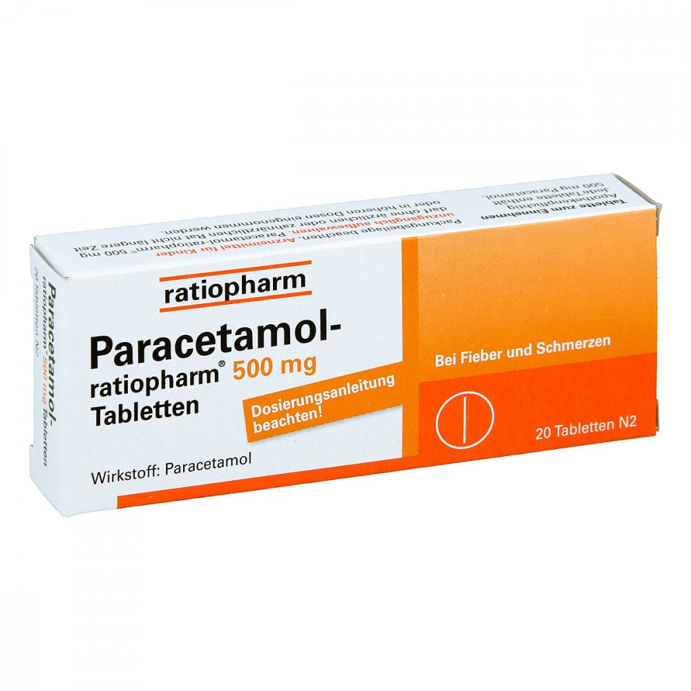 paracetamol ratiopharm 500mg 20 stk g nstig bei. Black Bedroom Furniture Sets. Home Design Ideas